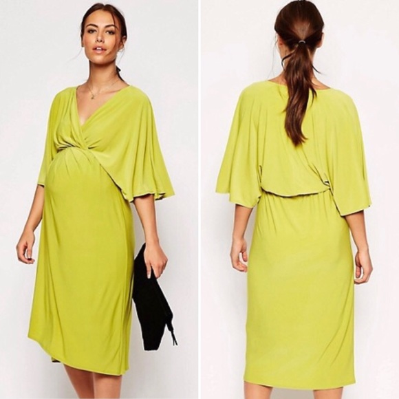 cf118a4b72 ASOS Maternity Dresses   Skirts - ASOS Yellow Chartreuse Maternity Kimono  Midi Dress